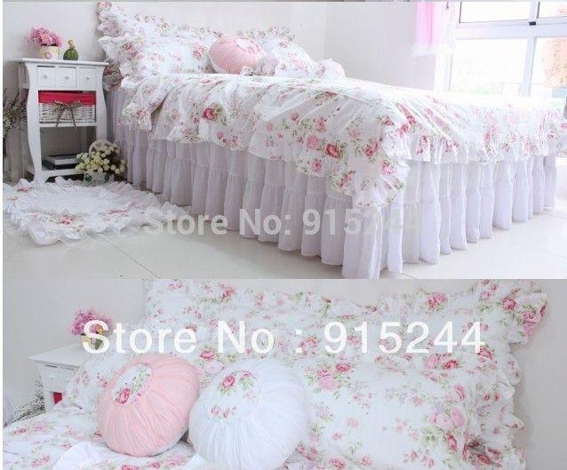 blanc dentelle lit longeait literie 100 coton princesse gteau volant rustique rose literie 4 pcs - Housse De Couette Romantique Rose