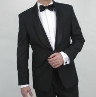 Dress til brudgom, fin dress til brudgommen, svart dress, Sort Dress Med Brokade På Kraven 7459