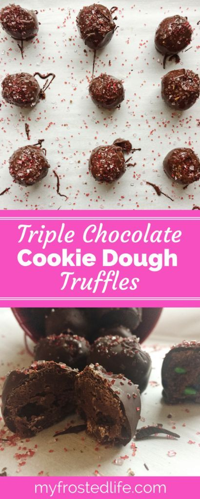 These tasty Triple Chocolate Cookie Dough truffles take cookie dough truffles to the next level. They feature edible chocolate cookie dough studded with mini chocolate chips and mini m&m's, covered in chocolate and decorated with sprinkles. A perfect dessert for parties or holidays, these easy no bake truffles are an awesome mini treat for any chocolate lover or cookie dough fan! Make the recipe and bite into one of these sweet treats and be in chocolate cookie dough heaven!