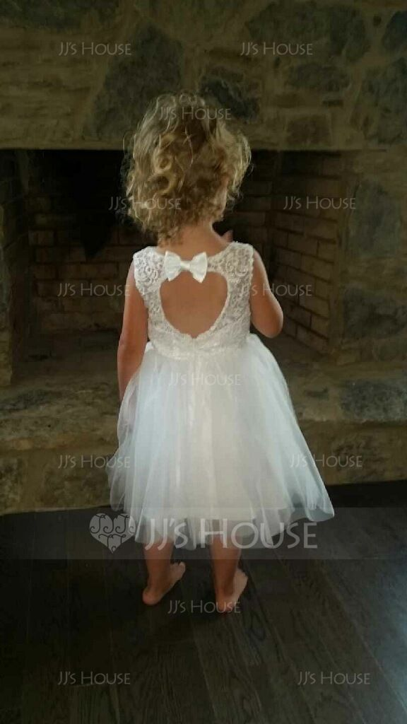35e27010e A-Line/Princess Knee-length Flower Girl Dress - Tulle/Lace Sleeveless Scoop  Neck With Sash/Bow(s)/Back Hole (010091208) - JJsHouse