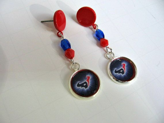 NFL Houston Texans Post Dangle Earrings by Sports Jewelry Studio.  Enter Coupon Code PINS5 to receive 5 off.  Free Gift Wrap.  Quick Ship.  Sport jewelry for women and girls.  Pro teams and weekend athletes.  www.etsy.com/shop/sportsjewelrystudio.