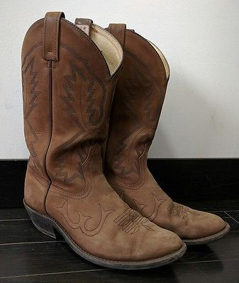 Mens Canada West Cowboy Boots Size 8 Brown Leather Made In Canada Western