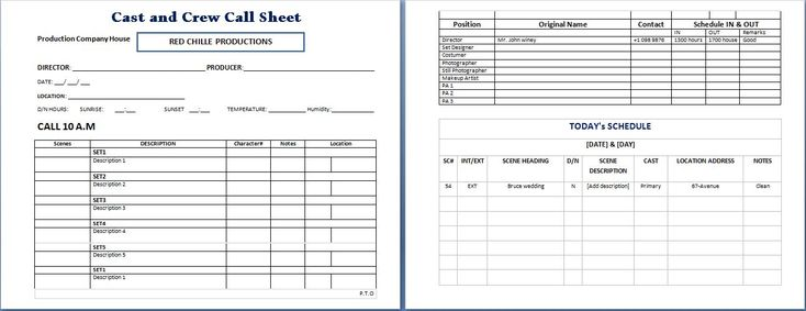 100 Production Sheet Template – Call Sheet Template Word