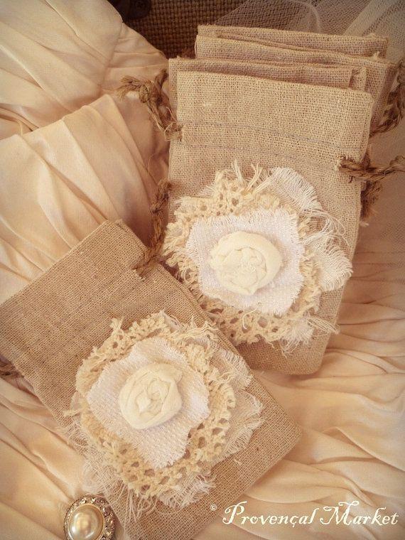 Rustic Wedding Favor Bag. Linen. by ProvencalMarket on Etsy, $4.00