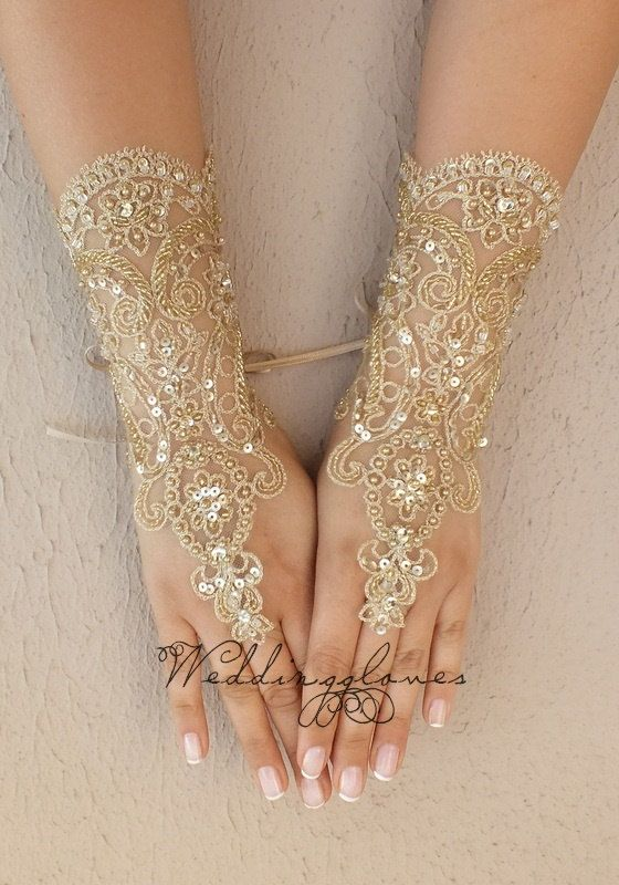 OOAK embroidered with gold Wedding Gloves lace by ByVIVIENN