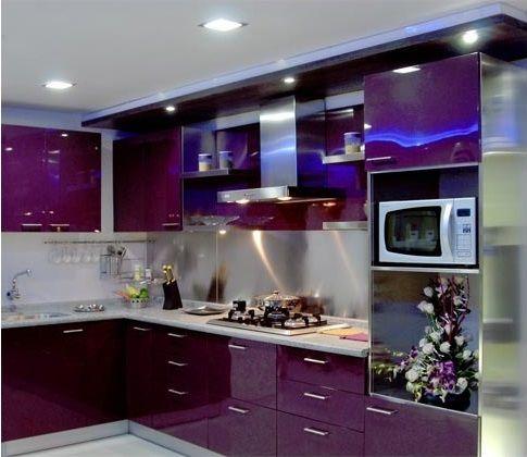 cozinha roxa moderna