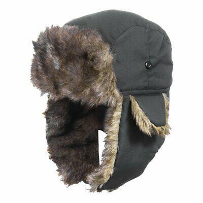 Men Winter Russian Fur Caps Bomber Hats Earflap Leather Hat Trooper Aviator Ski