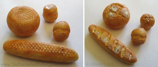 Miniature 1:12 scale dollhouse baguette bread muffin loaves polymer clay artwork