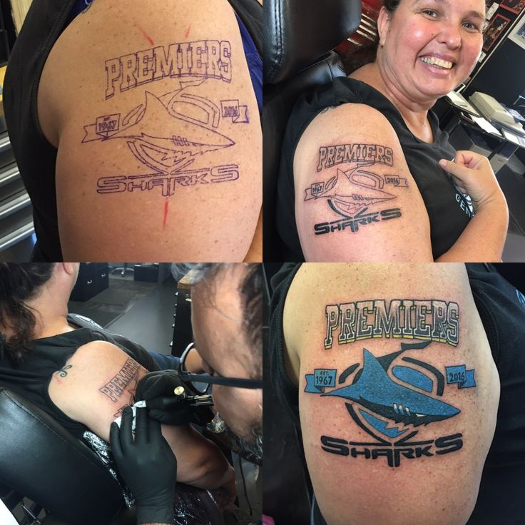 My tattoo from start to finish I got after our win #cronullasharks #upupcronulla