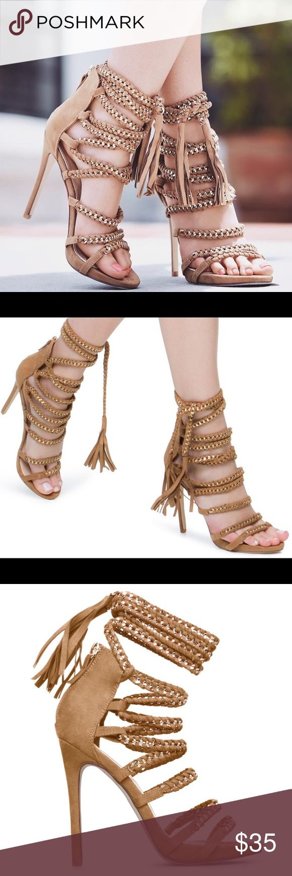 Shoedazzle Lace Up Tassel Heels Super cute and perfectly on trend! Excellent pre worn condition, worn once! No trades!! 0251740gwpg Shoe Dazzle Shoes Heels
