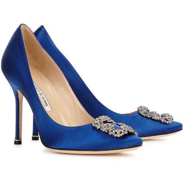 Manolo Blahnik Hangisi 105 royal blue satin pumps ($935) ❤ liked on  Polyvore featuring. Pump ShoesHigh Heel ... - Best 25+ Royal Blue High Heels Ideas On Pinterest Royal Blue