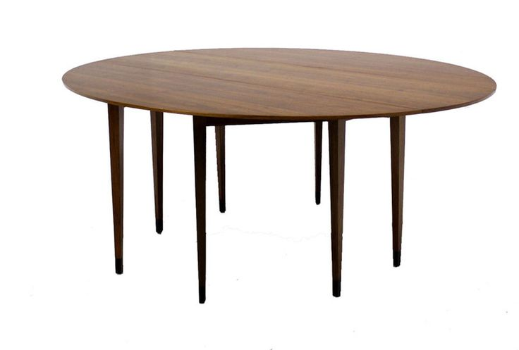 Large Mid-Century Modern Walnut Drop-Leaf Table by Dunbar   From a unique collection of antique and modern dining room tables at https://www.1stdibs.com/furniture/tables/dining-room-tables/