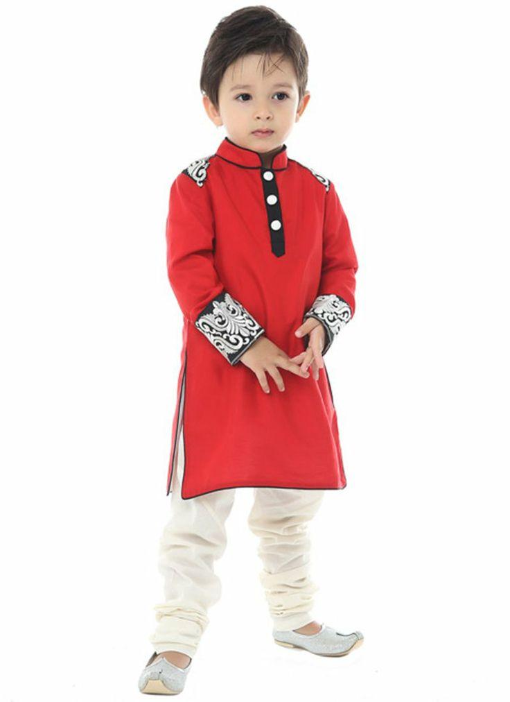 Elite Red Silk Cotton Kurta Pyjama #kidswear #indian