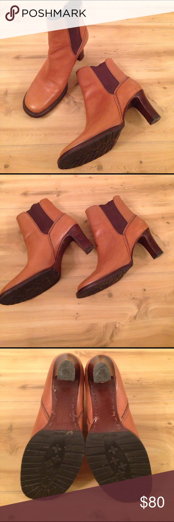 Cole Haan Heeled Boots Beautiful Cole Haan Heeled Boots for sale! Carmel and dark brown color. Has some wear, please see photos and ask questions if you have them. Size 6.5B Cole Haan Shoes Heeled Boots
