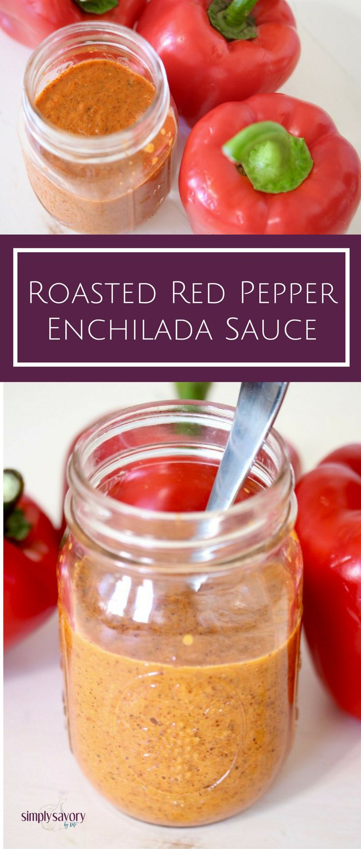 3-minute Roasted Red Pepper Enchilada Sauce makes weeknight dinner a breeze! Get the recipe at Simply Savory by Kate | www.simplysavorybykate.com