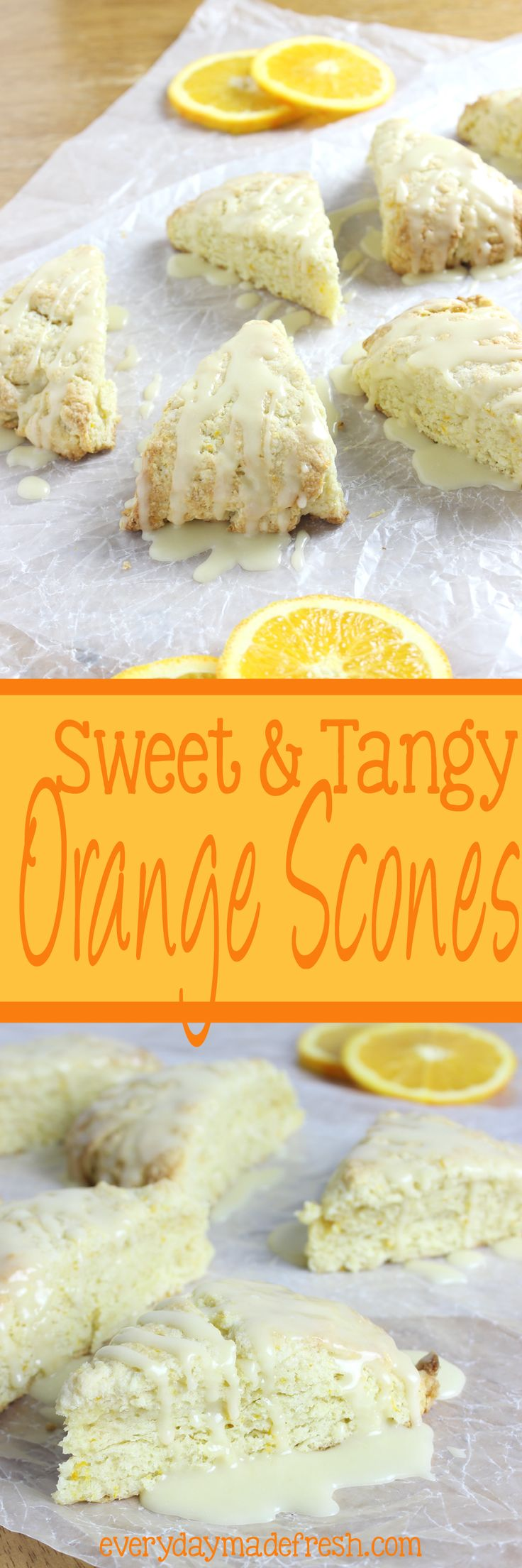 These Sweet & Tangy Orange Scones are studded with zest and bursting with fresh orange flavor! | EverydayMadeFresh.com http://www.everydaymadefresh.com/sweet-tangy-orange-scones/