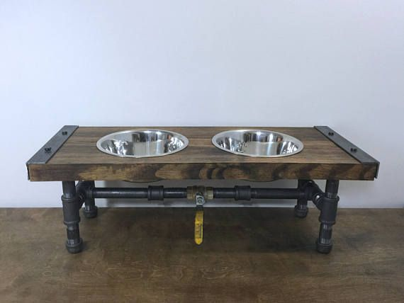 Dog Feeder, Dog Furniture, Raise Dog Feeder, Industrial Chic, Dog Bowl Stand, Dog Feeding, Elevated Dog Bowl, Industrial, handmade shop, shop handmade, interior decorating, blog life, dog style, dog products, dog bed, pet life, pet parent, pug lovers, pugs, modern furniture, industrial furniture, industrial chic, etsy, hgtv, custom made, furniture design, home goods, design lovers, dogs, dog, pet, pets, aspca, homelife, dog lover, dog life, pet lovers, dog blog, dog supplies, pet supplies