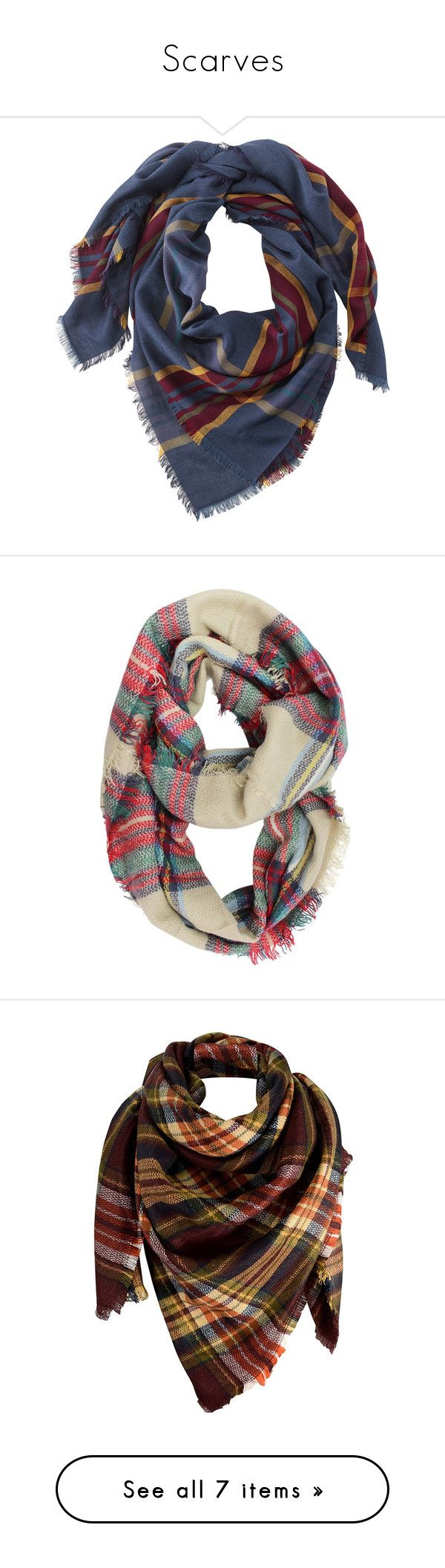 """""""Scarves"""" by taylormaccallister ❤ liked on Polyvore featuring accessories, scarves, tartan plaid shawl, tartan plaid scarves, tartan scarves, plaid shawl, lightweight scarves, beige, lightweight and circle scarves"""