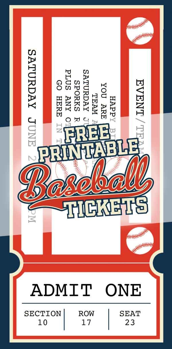 70 Ticket Templates  |Blank Baseball Game Ticket