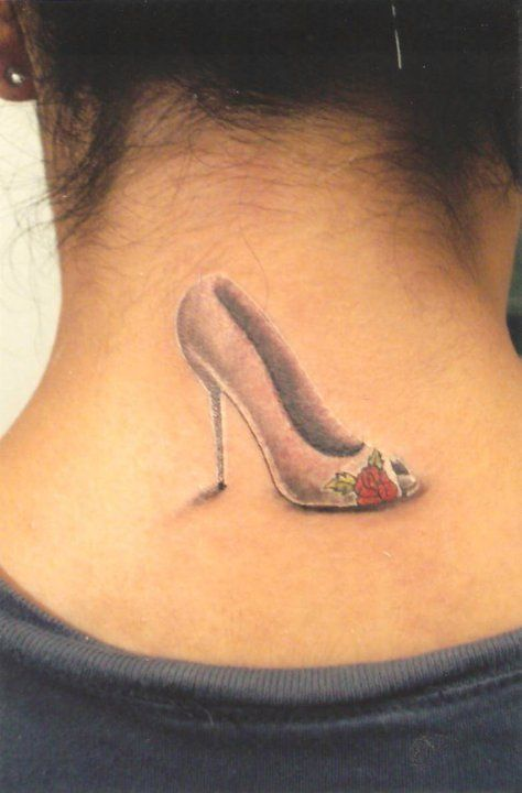 HIGH HEEL WITH ROSE TATTOO...the tattoo I got for my beautiful mother. ~Laura