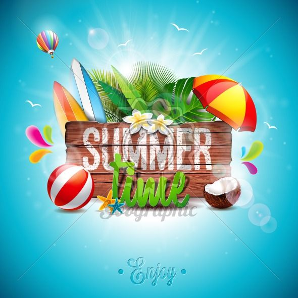 Graphic_150_45_summer Vector Summer Time Holiday typographic illustration on vintage wood background. Tropical plants, flower, beach ball and sunshade. - Royalty Free Vector Illustration
