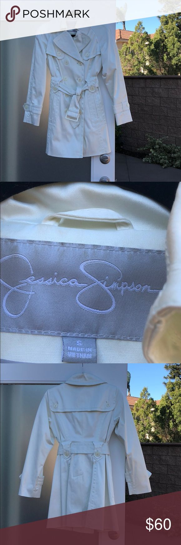 Cream color Jessica Simpson coat size S Cream color Jessica Simpson coat size S   In excellent condition. There are 3 very small areas of discoloration on the coat. I have shown them in the last 2 photos above. The rest of the coat is perfect. Color is a light cream/off white. Jessica Simpson Jackets & Coats
