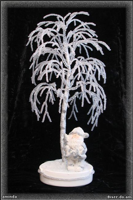 Зимние деревья из бисера мастер класс с пошаговым фото