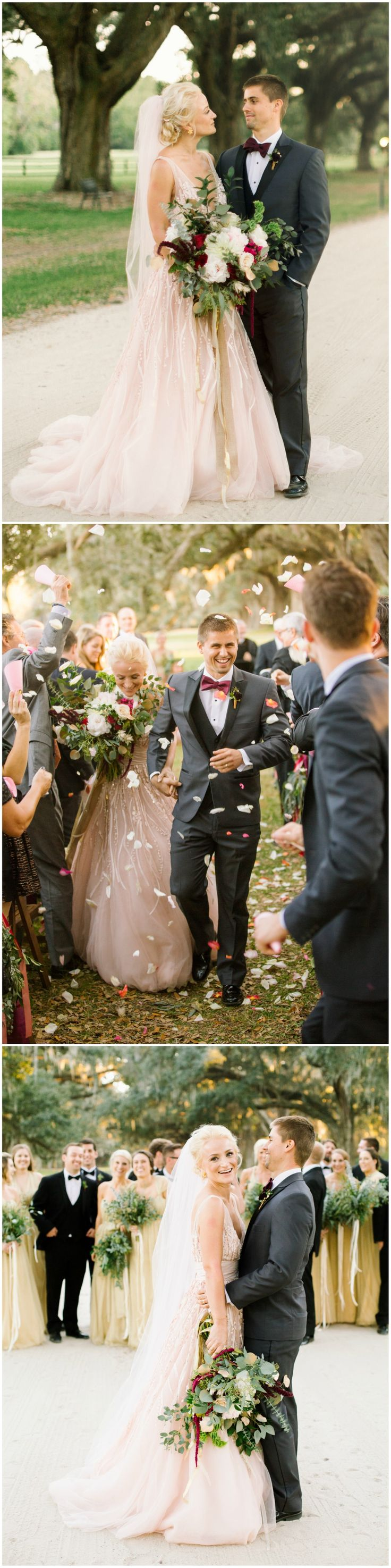Romantic bride & groom wedding fashion, beaded wedding dress, bridal veil, grey groom suit, maroon bow-tie, follow this board for more romantic wedding inspiration // JoPhoto
