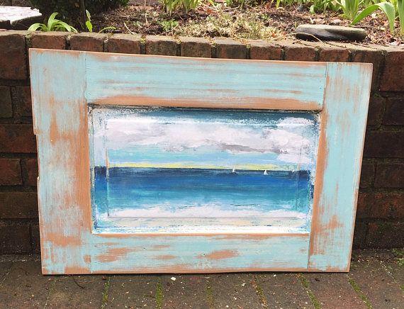 Original Sander Painting  A Day At Sea  Beach House Art Wall