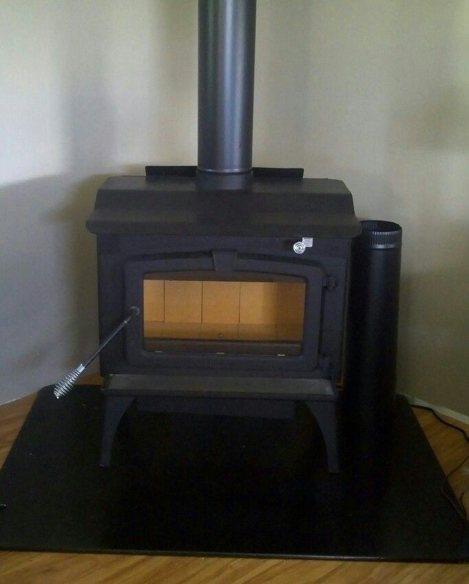 Great little wood stove all hooked up and
