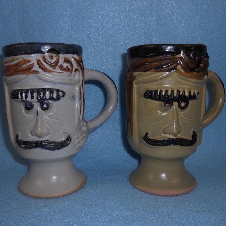 Set of 2 Pacific Stoneware 1971 Coffee Cups Mugs Welsh Mustache Men Face #PacificStoneware #BobWelsh