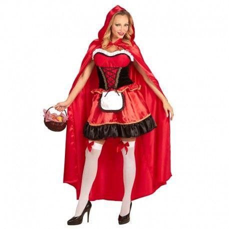 Disfraces Disney mujer | Disfraz de caperucita de lujo. Espectacular modelo de Caperucita Roja. En telas de alta calidad. Compuesto de vestido con corpiño y delantal y capa extra larga con capucha.Talla M. 49,95€ #caperucita #caperucitaroja #vestido #largo #vestidolargo #corpiño #delantal #capa #disfraz #disney #disfraces #disfrazdisney