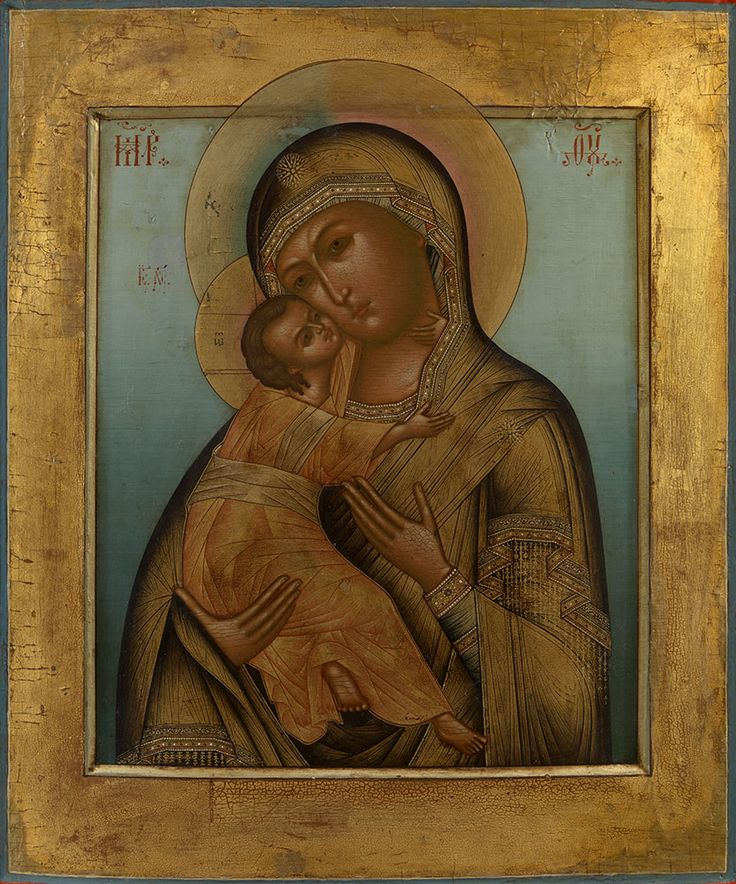 zolotoivek: The Mother of God of Vladimir, created in the workshop of I. Bryagin near the end of the 19th century.