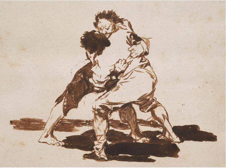 Francisco Goya (1746-1828), Due uomini che combattono, 1817-20 (particolare), pennello e inchiostro marrone, con raschiatura. Boston, Museum of Fine Arts.
