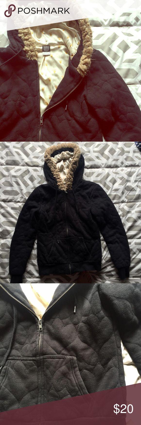 Ezekiel zip up hoodie Black Ezekiel hoodie with faux fur lined hood and a gold satin liner. Super cozy. Size small but runs a bit small. Would fit an XS/SM Ezekiel Jackets & Coats