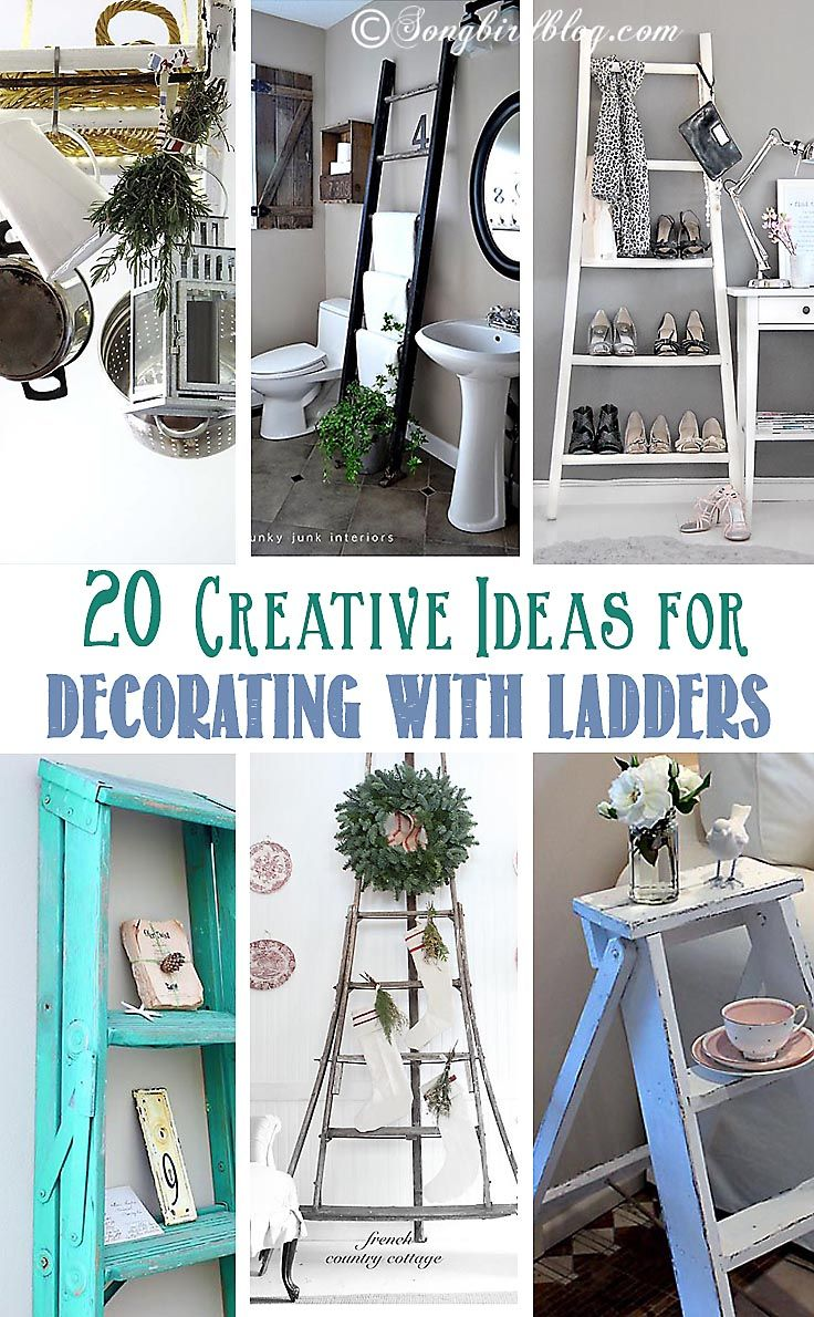 Check out these 20 inspiring and awesome ideas for decorating with ladders. via www.songbirdblog.com