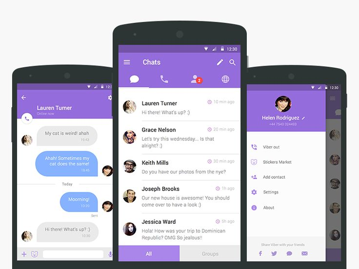 Signa Android UI Design Community — A Viber redesign concept by Julia Mattos