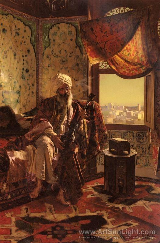 Smoking The Hookah oil painting by Rudolf Ernst