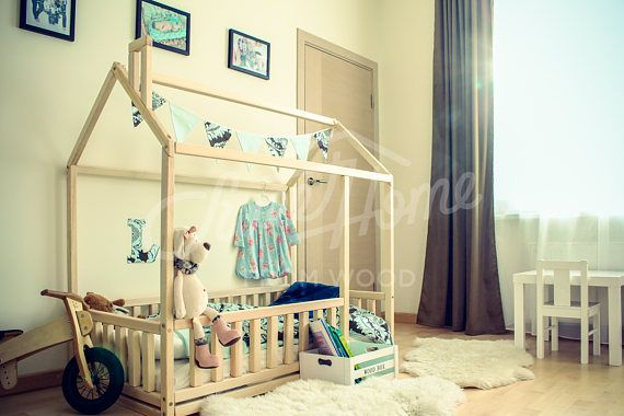 Toddler bed, house bed, children bed, frame bed, kid nursery bed, floor bed, Montessori furniture, play bed, tent bed -fence, SLATS, LEGS