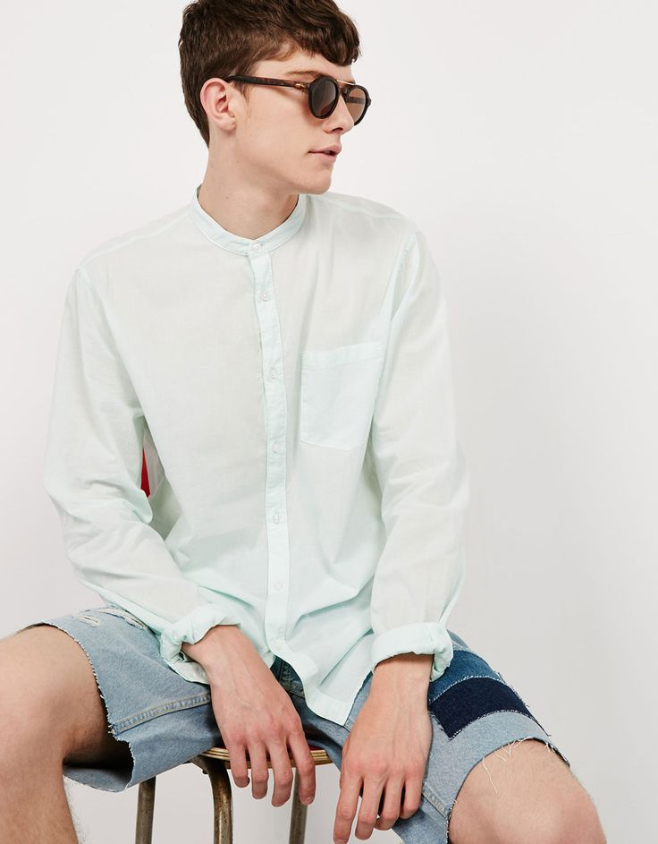 Camisa cuello mao - Camisas - Bershka España