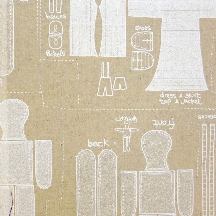 Dolly Print Fabric - Chalk Raw