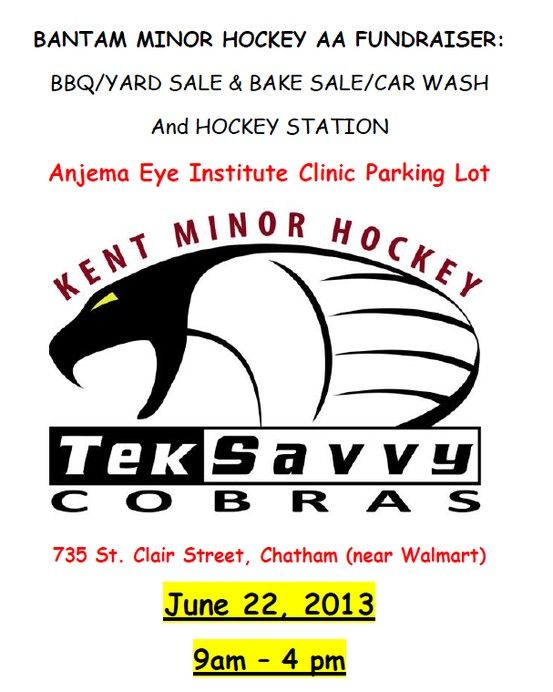 We hope all of you come out to the Bantam Minor Hockey AA Fundraiser!   It's taking place at the Anjema Eye Institute on June 22nd from 9AM – 4PM  There will be BBQ, Yard Sale, Bake Sale, Car Wash, and Hockey Station!  So come out, show your support and have some FUN!  Visit: http://teksavvy.com/