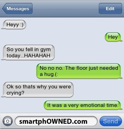 smartphowned, gym, funny sms