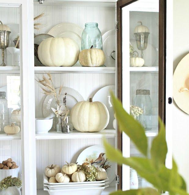neutral fall decor: Decor Ideas, China Cabinets, Fall Decor, Falldecor, Autumn Decor, Holidays Decor, White Pumpkin, Fall Home, Neutral Fall