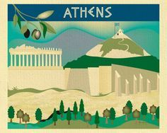 Athens, Greece wall art comes in an array of finishes, materials, and sizes, this retro inspired wall art will make Athens feel close to your heart with its bright color palette and unique design. You