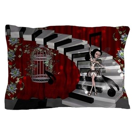Dancing fairy on the piano Pillow Case on CafePress.com