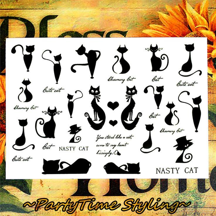 Малые черные коты Временные татуировки Боди-арт флэш татуировки наклейки 17 * 10 см водонепроницаемый Home Decor автомобилей Стайлинг Tatoo стикер стены