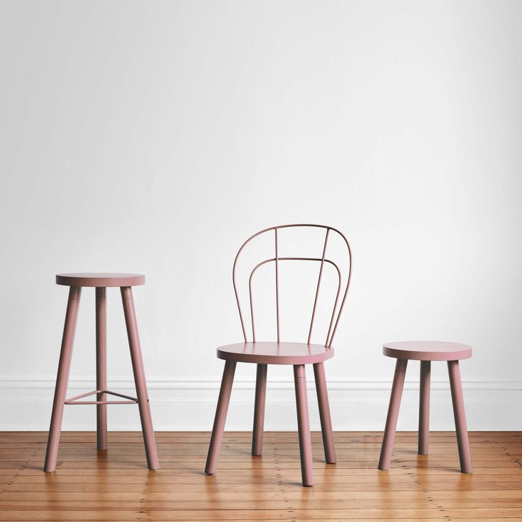 Dusty Pink Partridge Colour Block Chair, Bar Stool, Low Stool | Timber Counter & Dining Seating | Wire Backrest | DesignByThem