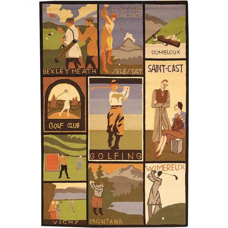 Safavieh Vintage Posters Golf Collage VP252A Multi Novelty Rug   VP252A