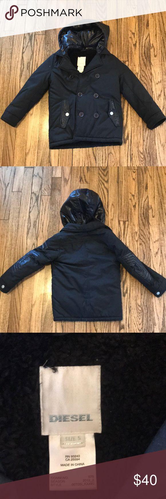 Boys Diesel coat size 5 Boys black Diesel coat sherpa lined with detachable hood size 5 Diesel Jackets & Coats Puffers